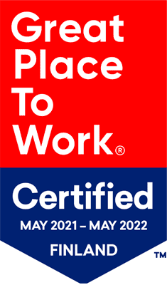 Great Place To Work Certified May 2021 – May 2022 Finland